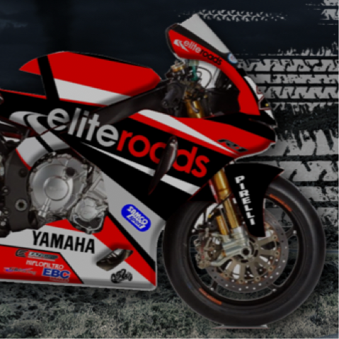 Motorbike sponsored by Elite Roads.